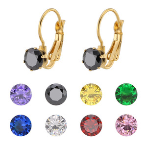 316L Stainless Steel Cubic Zirconia Fancy Hypo-allergenic Claw Setting Earrings