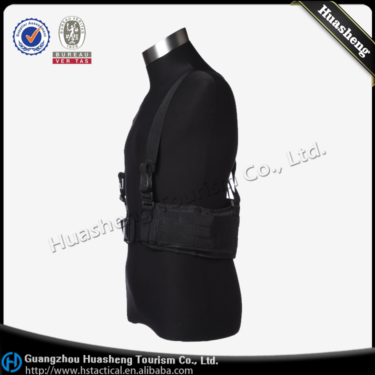 Military Tactical Molle Black Belt With Suspenders