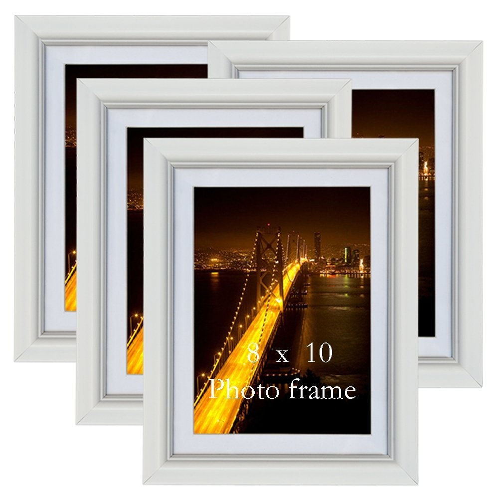PETAFLOP 8x10 Picture Frames White 8 by 10 Decorative Poster Frame Wall Display, Set of 4pcs