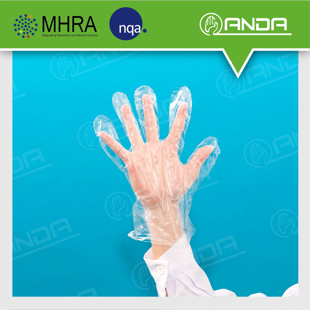 AD007 ODM Medical Supplies Disposable plastic transparent gloves