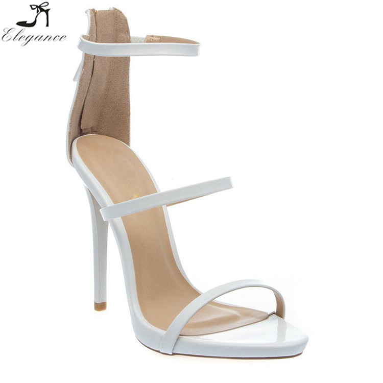 Vogue Wholesale Hot 2017 White PU Sandals Women Peep Toe Double Strappy Zipper Pencil High Heel Dress Shoes Ladies Sandals