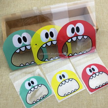 Mini Big Mouth Gifts Bags Self-adhesive Biscuit Cookies Plastics Bags Xmas Package 10*10+3CM