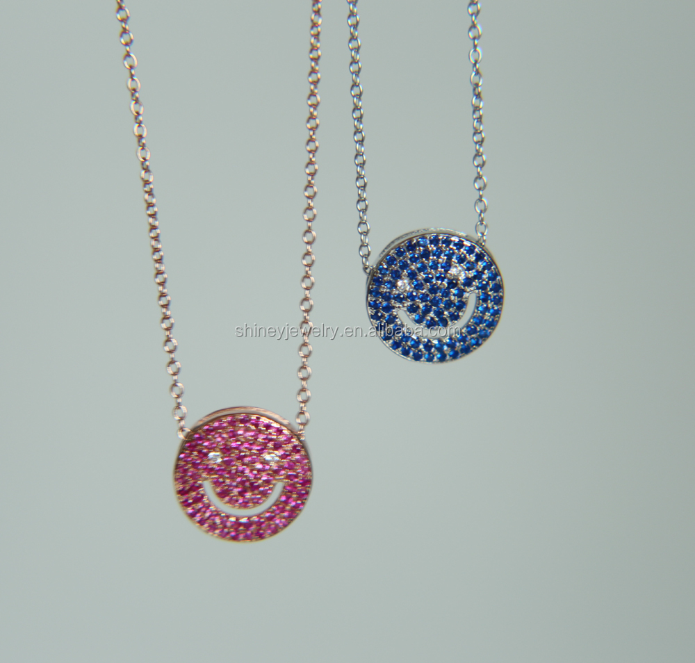Sterling Silver vermeil micro PAVE BLUE RED CUBIC zirconia smile smily face silver pendant necklace