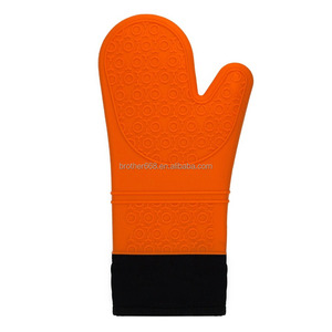 Extra Long Quilted Cotton Lining Silicone Oven Mitts