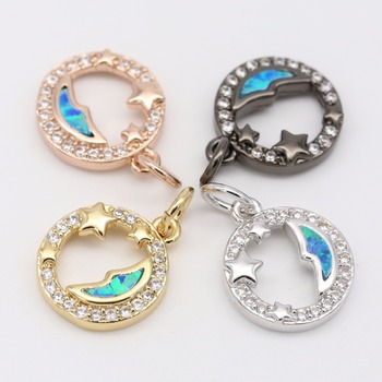 new design ladies jewelry Starry sky and moon opal gold plated pendant