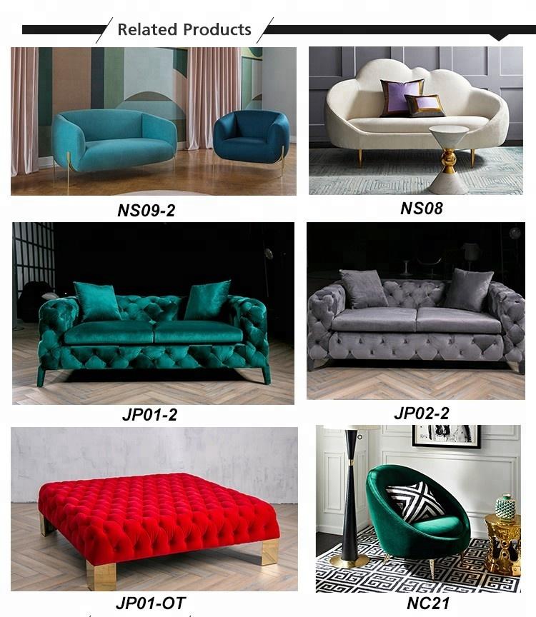 Yeni lüks mobilya ezilmiş mavi kadife kanepe