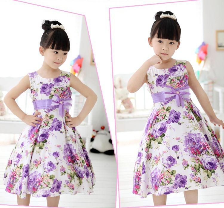 Roupas de bebê crianças 2014 nova primavera doce flor arco laço meninas veste crianças princesa meninas roupas de bebê menina vestido de festa