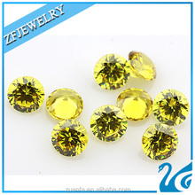loose 4mm round cut yellow artificial zircon