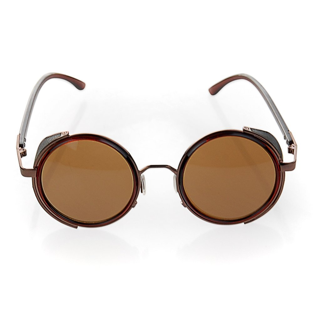 5aa044376f Retro Metal Round Circle Frame Sunglasses Classic Side Visor Circle Vintage  Steampunk Sunglasses Mirror Lens Round