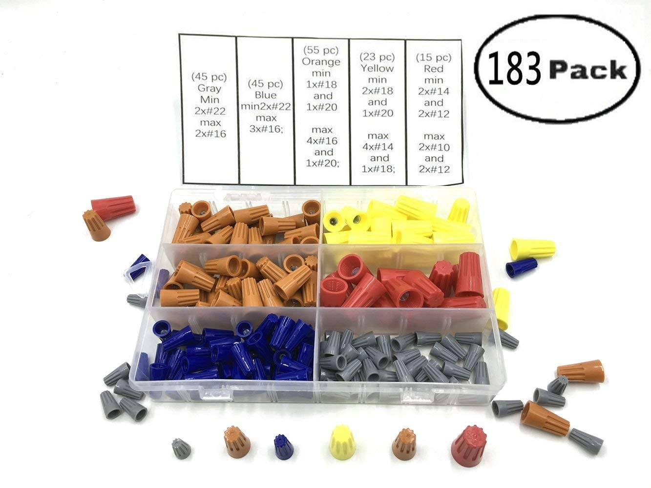 Electrical Wire Connectors Screw Terminals,with Spring Insert Twist Nuts Caps Connection Assortment Set with Storage Case- 183PCS