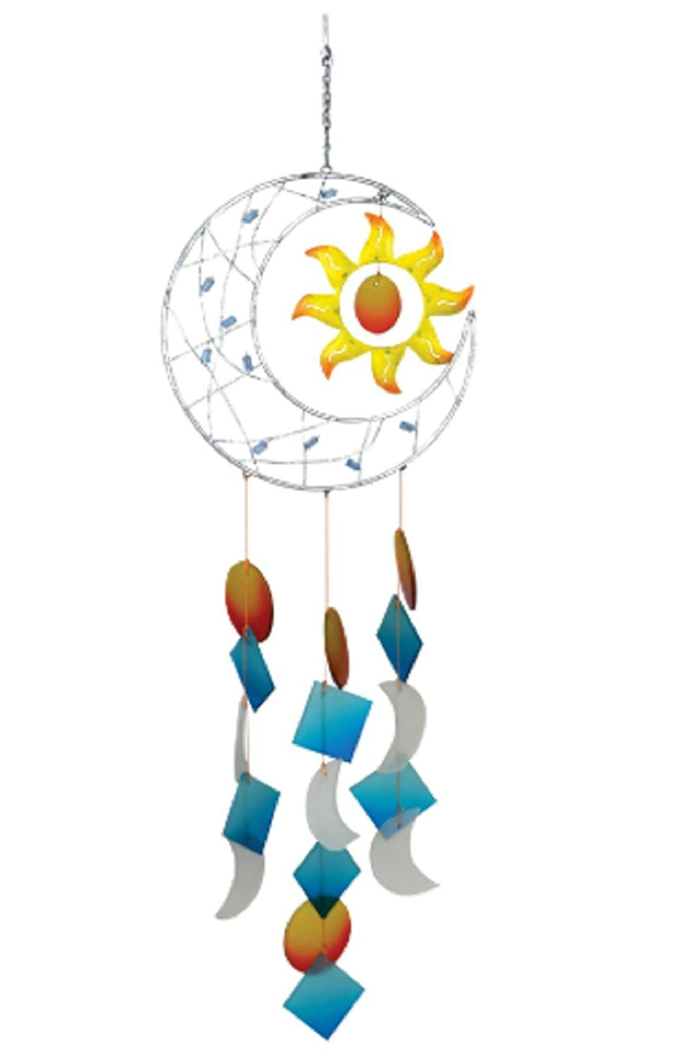 MyEasyShopping Celestial Moon Chime Wind Stars Sun Metal Blue Star Long Garden Bells Outdoor Acrylic Decor Handmade Porcelain 3 Strings Pieces Home Decoration