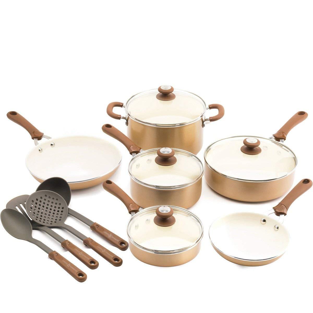 14-Piece Copper Precious Metals Aluminum Non-Stick Ceramic Coated With Thermolon Healthy Ceramic Non-Stick Coating Cookware Set