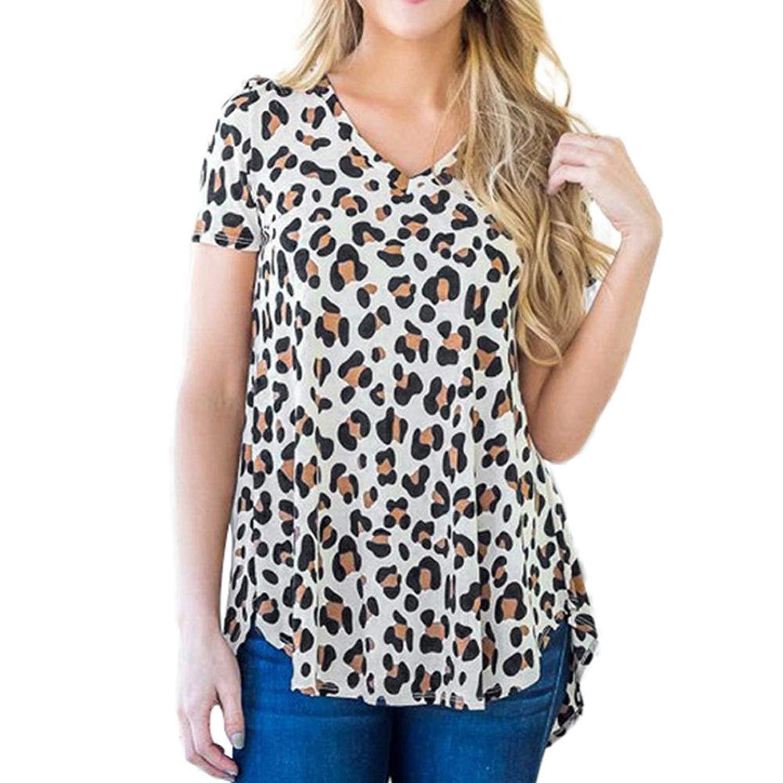 214cc8d92d9 Get Quotations · Fine Womens T-Shirt, Womens Casual T-Shirt Leopard Print V- Neck