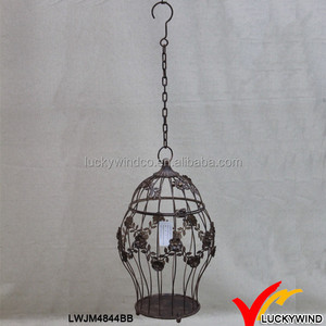 Ceiling Hang Floral Encircled Decorative Rustic Iron Wire Bird Cage