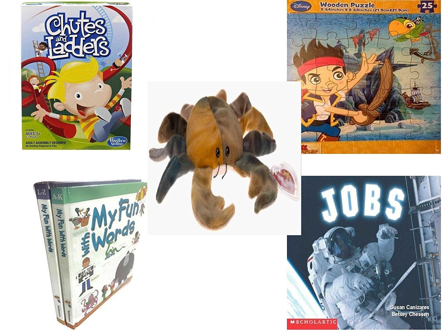 Children's Gift Bundle - Ages 3-5 [5 Piece] - Chutes and Ladders Game - Disney Jake and The Never Land Pirates Puzzle Toy - Ty Beanie Baby - Claude the Crab Ty Dye - My Fun With Words Dictionary Boo