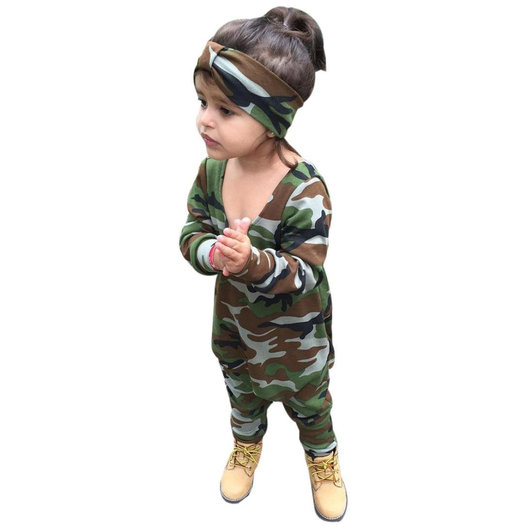 aefdd5bf986c Get Quotations · Fheaven Newborn Kids Baby Boy Girl s Camouflage Tops  Romper Headband 2Pcs Outfits Set Clothes (9