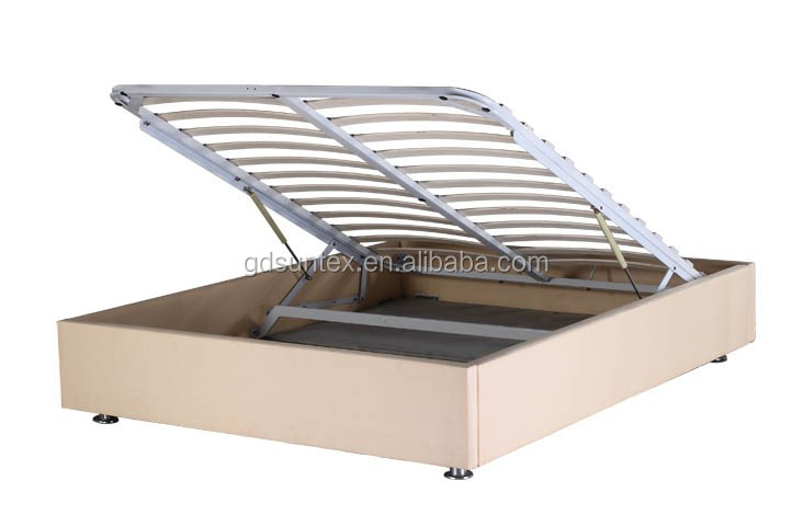 Wood Storage Bed Hydraulic Lift : Modern white pu leather double bed hydraulic lift up