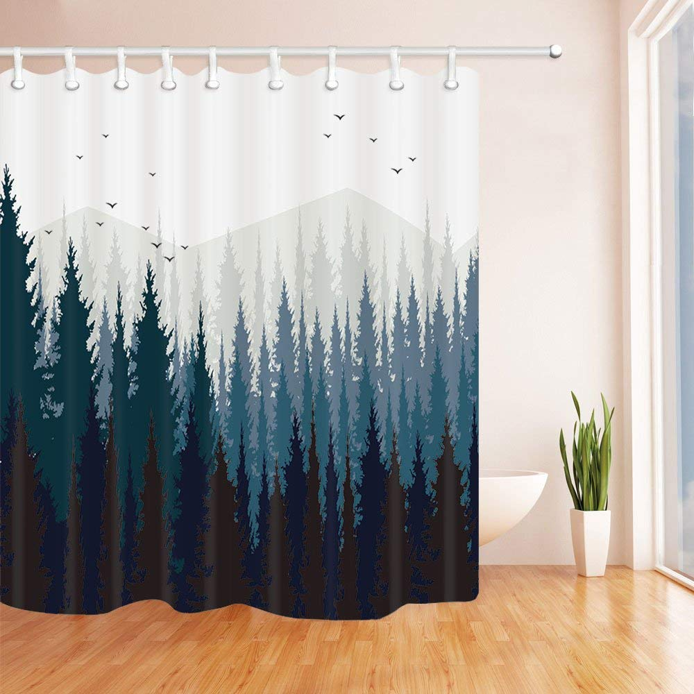 """Chengsan Landscape Nature Scenery Home Decor, Mysterious Tree Forest on Fog Mountain Unique Bath Decor Polyester Fabric Shower Curtain(59"""" W71 H, 2)"""