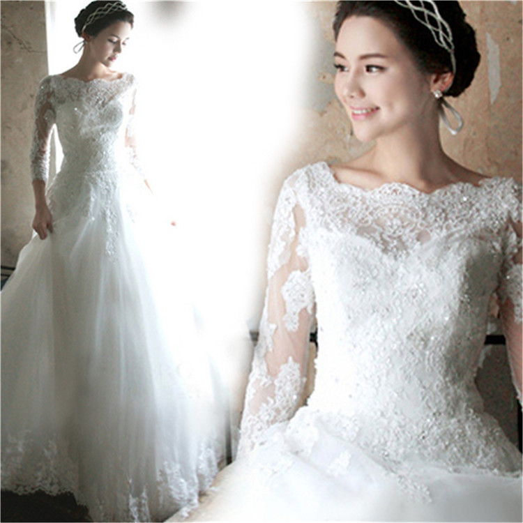Simple And Elegant Wedding Dresses Boat Neck Three Quarter: Wedding Dresses: Elegant Wedding Dresses For Boats