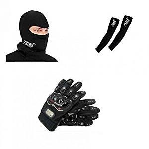 one-stop-shop pro-mask-nike Bike Gloves - Black + Balaclava Face Mask - Black + Arm Sleeves - Black