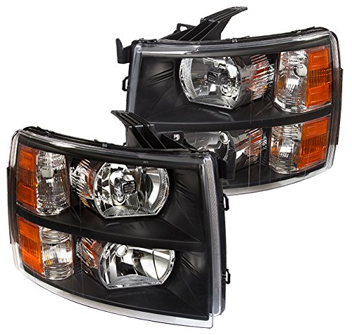 AJP Distributors For Chevy Chevrolet Silverado 1500 2500 3500 HD Headlights Lights Lamps 2007 2008 2009 2010 2011 2012 2013 2014 07 08 09 10 11 12 13 14 (Black Housing Clear Lens Clear Reflector)