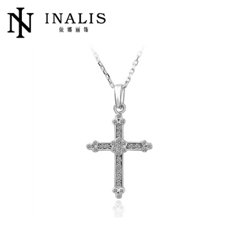 Fashion boys unique 18k white gold cross necklace n038 buy cross fashion boys unique 18k white gold cross necklace n038 aloadofball Image collections