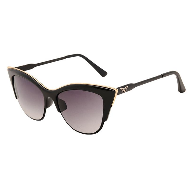 0c450a11b3b2e 2016 New Eagle Cat Eye sunglasses Semi-Rimless Frame points Women fashion  style retro lentes de sol 6 colors for ladies lunette