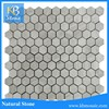 Hexagon white wooden gray marble mosaic tile