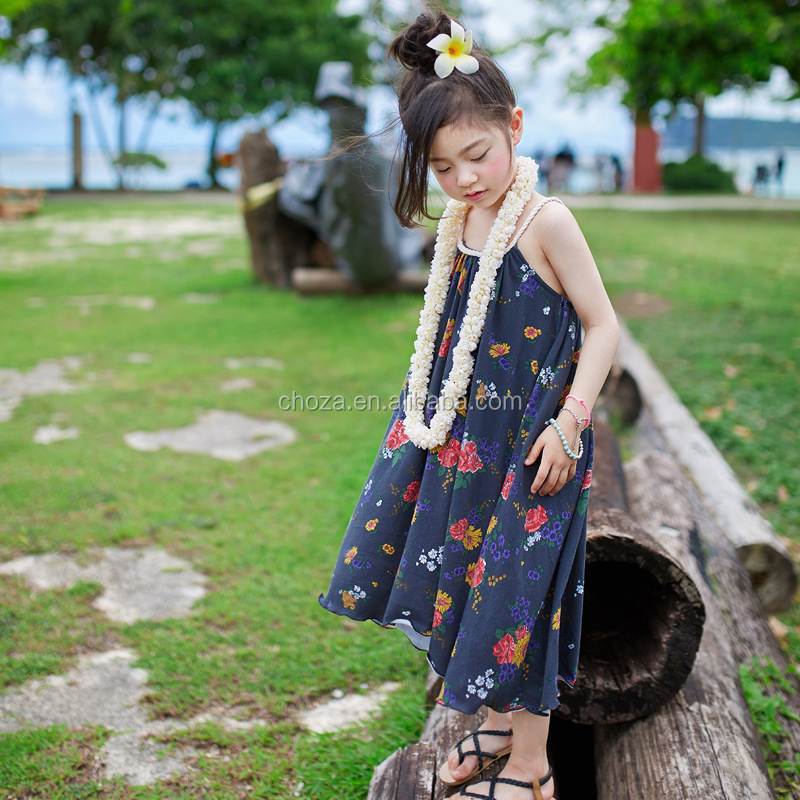 C22942B Wholesale Summer Fashion Floral Dress For Kids Beach Dresses