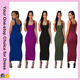 Pure Color Bodycon Long Pencil Tight Sleeveless Tank Dress