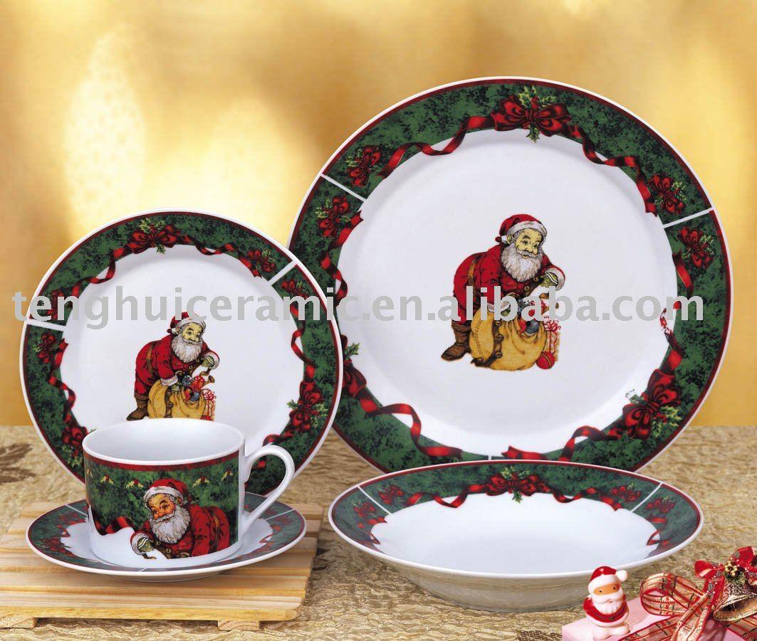 Padre navidad vajilla de porcelana conjunto vajilla de - Vajilla de navidad ...