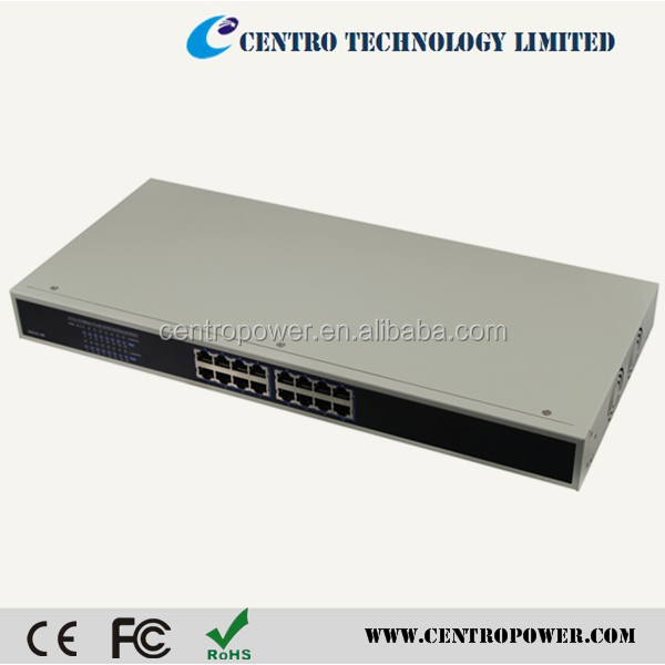 Wholsale RJ-45 16 port POE swith with 10/100M IEE802.3af ethernet switch 16 port POE switch for 16 PoE Injector