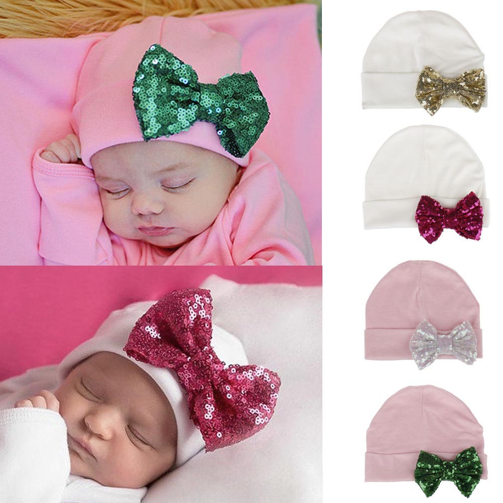 079b9db4ee73 2019 Cute Baby Girls Boys Hats Paillette Sequin Bowknot Hat Toddlers ...