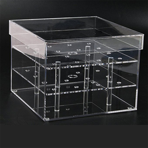 Premium Clear Acrylic Wedding Rose Flower Display Packaging Box with rubber feet