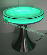glowing glass tabletop acrylic center led dining table