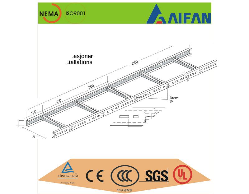 aluminum/ steel/ metal ladder cable tray installation,ladder cable tray