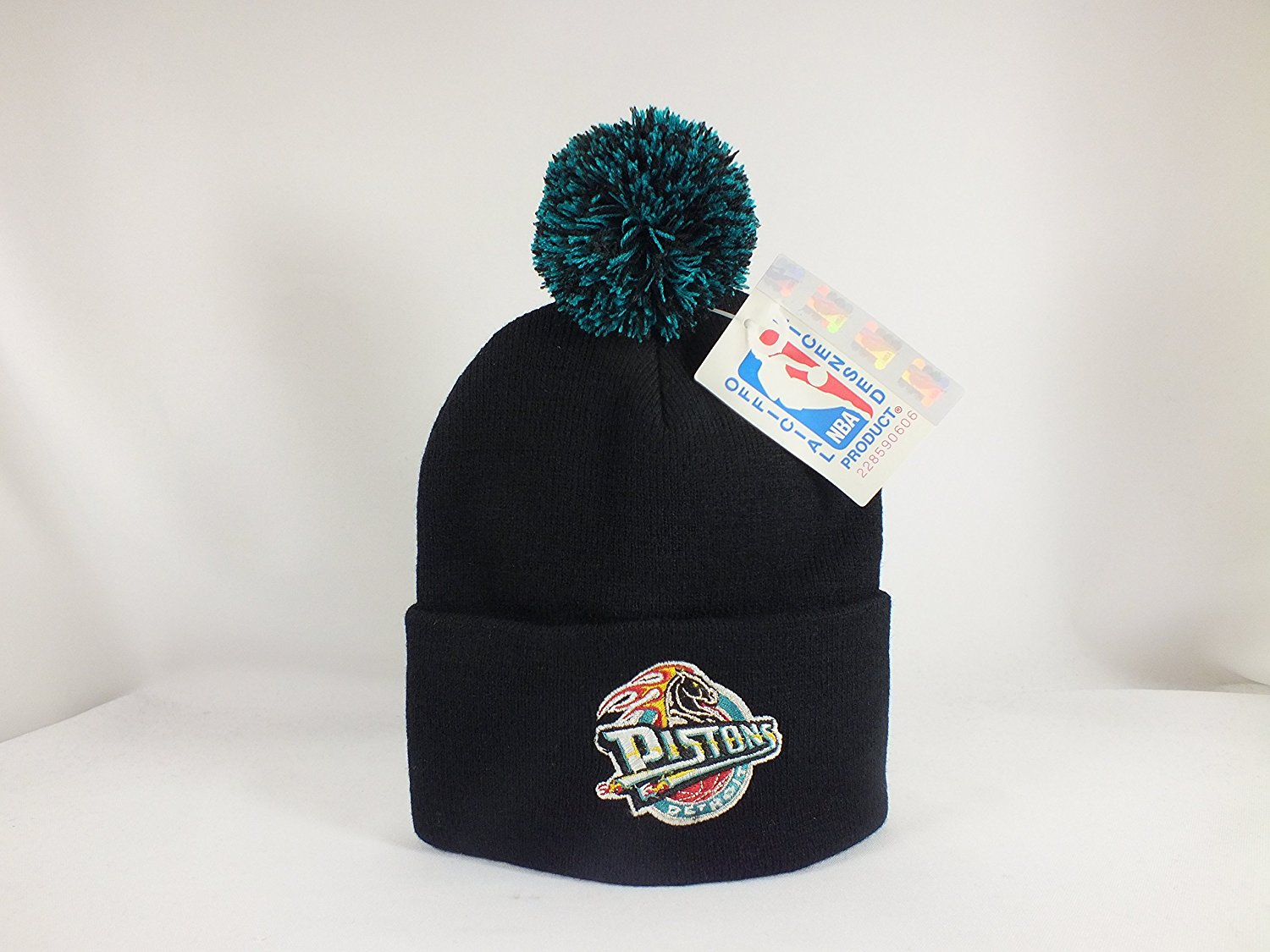 Get Quotations · DETROIT PISTONS NBA Black Winter Cap Beanie with Pom Pom  Top 4a6a8b40cda