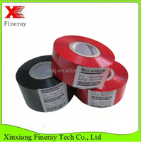 FINERAY brand FC3 type 25mm*107m size black hot coding foil/date code heat stamp jumbo roll for batch code printing
