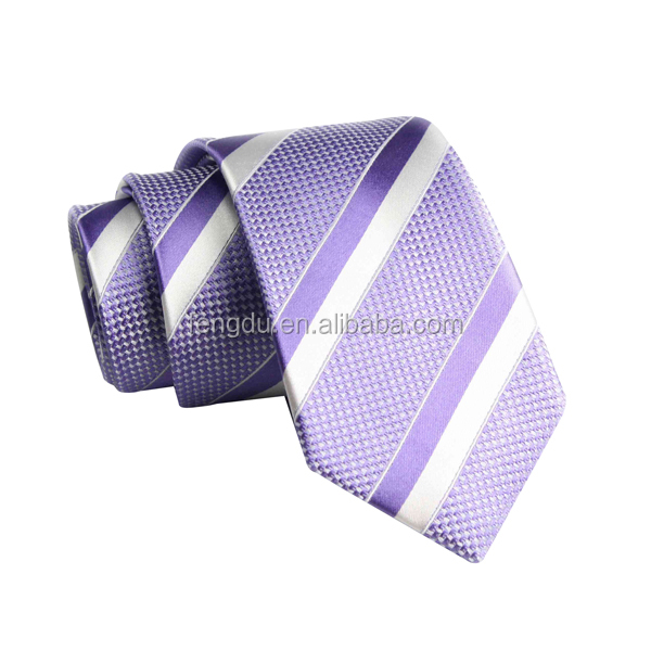high quality popular bright purple and white striped silk ties men