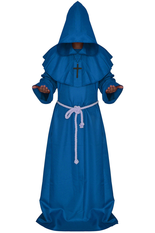 Halloween Adult Mens Priest Costume Medieval Monk Christian Missionary Costumes
