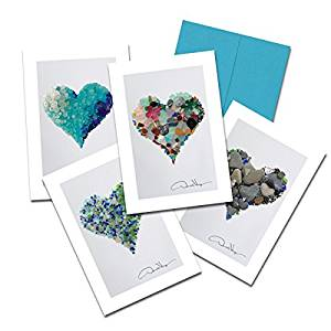 Donald Verger Photography Fine Art Note Cards. Elegant Sea Glass Hearts. 3.5x5. Set of 8 Best Quality, Blank Folded Cards with Matching Envelopes. Unique as Thank You Notes, Invitations & Gifts.