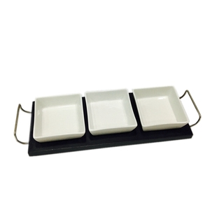 3 ceramic chip dishes on a crushed tray with metal handle ,Elegant 4-piece Relish Tray with White Ceramic Bowl