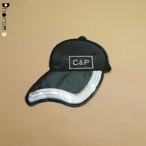 Fashion black baseball cap sequined pu patch for jacket