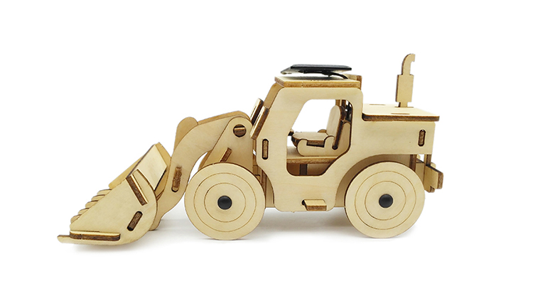 Solar Energy Running Bulldozer Wooden 3D Puzzle DIY Toy
