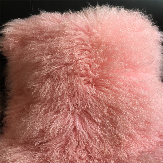 Warm real mongolian fur blanket red sheepskin fur rug