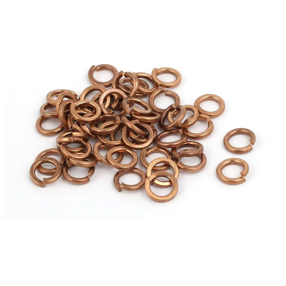 uxcell 4mm Inner Diameter Split Lock Spring Washer Gasket Copper Tone 50pcs
