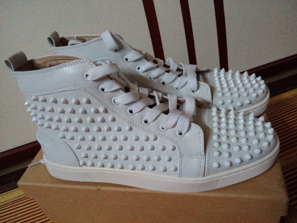 718730b8e90 Genuine leather white spike red bottom men sneaker  men red bottoms shoes  for summer