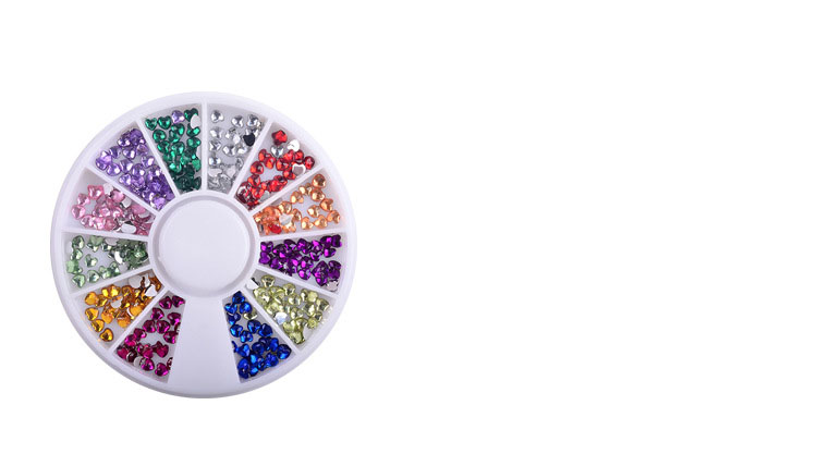 Multi Color Heart Shape Acrylic Rhinestones Crystal AB Flat Back Nail Rhinestone 3MM Nail Art Decoration Wheel DIY Tool NA0070