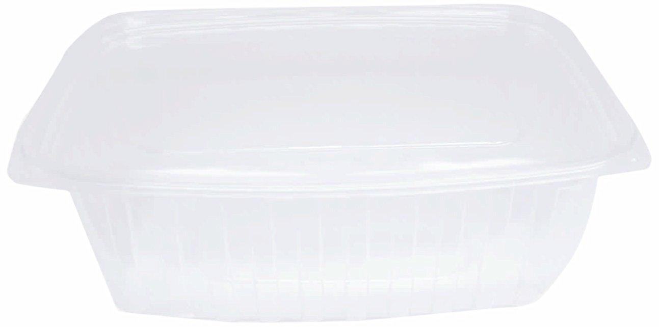 "Choice-Pac L1D-2024 Polyethylene Terephthalate Rectangular 2-Piece Cold Deli Container, 7-3/8"" Length x 6-1/2"" Width x 2"" Height, Clear, Medium, 24-Ounce (Case of 200)"