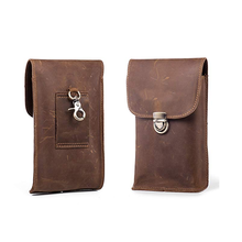 Hot Selling Genuine Leather Brown  Pouch  Belt Clip Holster Case Bag